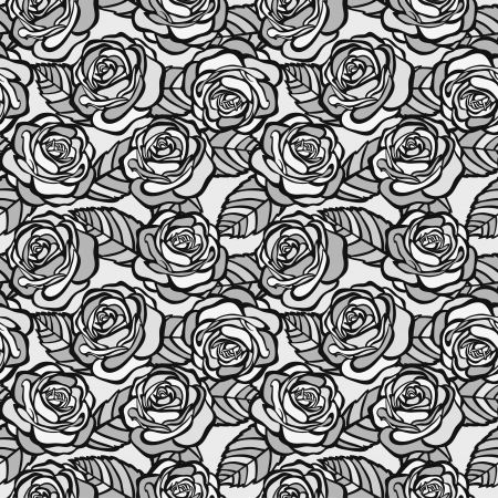 Vintage seamless background of gray roses. Many similarities in the profile of the artist Vector