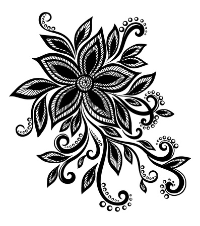 mehndi: beautiful black and white flower with imitation lace, eyelets, design element. Many similarities in the profile of the artist