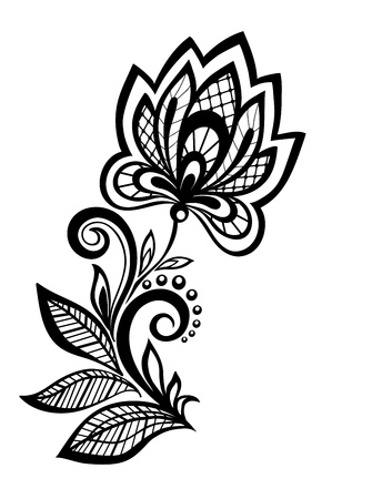 black and white floral pattern design element. Many similarities to the author's profile Stock Vector - 19859060