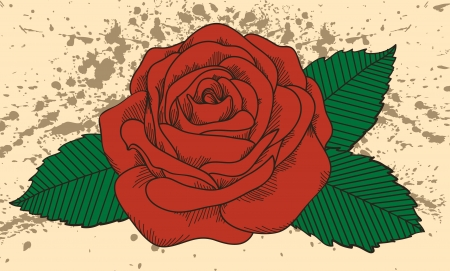 Rose tattoo on the old background with blots. In the old-style. Many similarities in the profile of the artist Vector
