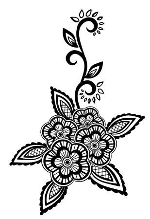 henna pattern: Beautiful floral element. Black-and-white flowers and leaves design element with imitation guipure embroidery. Many similarities in the profile of the artist