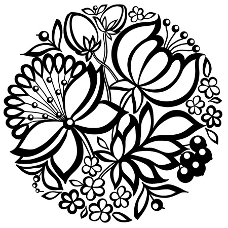 floral arrangement: black-and-white floral arrangement in the shape of a circle. Many similarities in the profile of the artist