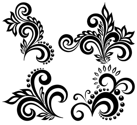 floral scroll: set of black and white floral elements. Many similarities in the profile of the artist