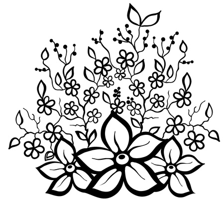 black and white floral pattern design element. Many similarities in the profile of the artist Ilustracja