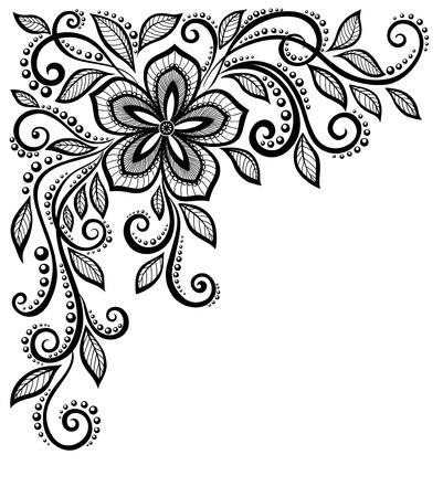 美しい黒と白のレースの花テキストとの挨拶のためのスペースと隅に芸術家のプロフィールの多くの類似点