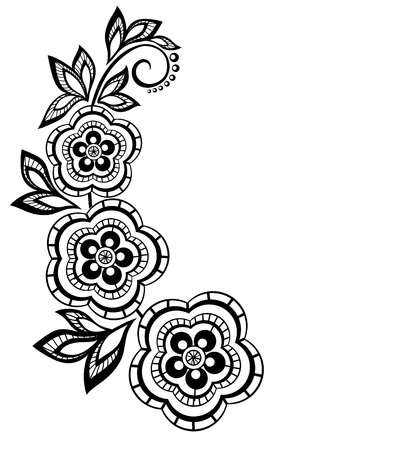 outline flower: Isolated branch with flowers design element  With the effect of lace eyelets  Many similarities in the profile of the artist