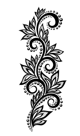 Isolated floral design element  With the effect of lace eyelets  Many similarities in the profile of the artist Vector