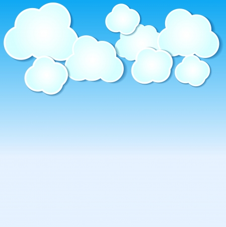 Paper clouds illustrated background on blue sky. Many similarities in the profile of the artist Vector