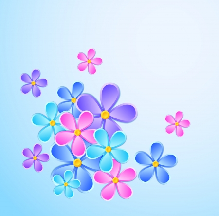 Tarjeta de felicitación con flores de papel. Muchas similitudes en el perfil del artista Foto de archivo - 21045560