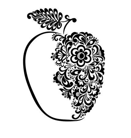 beautiful black and white apple decorated with floral pattern. Many similarities to the authors profile Vector