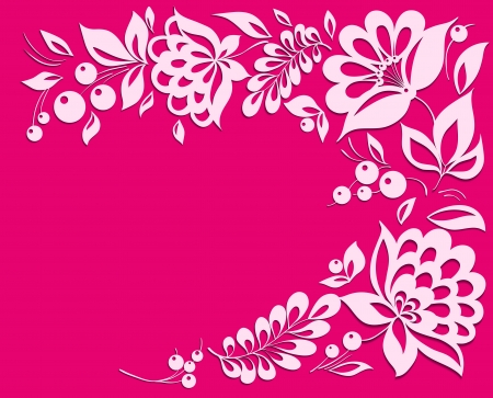cut flowers: pink background with a floral frame  Many similarities to the author