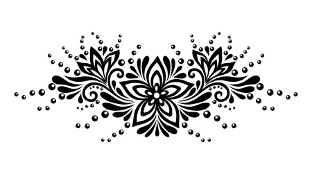 guipure: Black and white lace flowers and leaves isolated on white