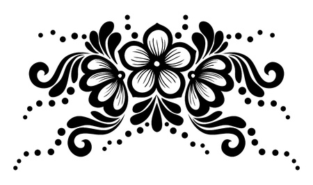 guipure: Black and white lace flowers and leaves isolated on white  Illustration