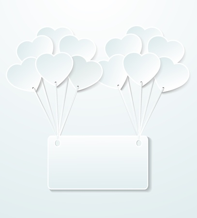 Background with balloons in the shape of heart and note paper Stock Vector - 21949489