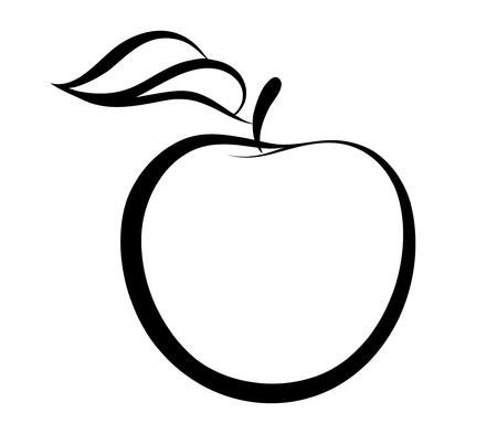 outline drawing: Vector monochrome illustration of apple  Illustration