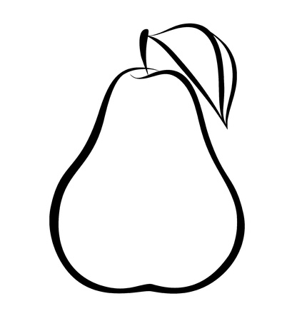contours:  monochrome illustration of pear .  Many similarities to the authors profile