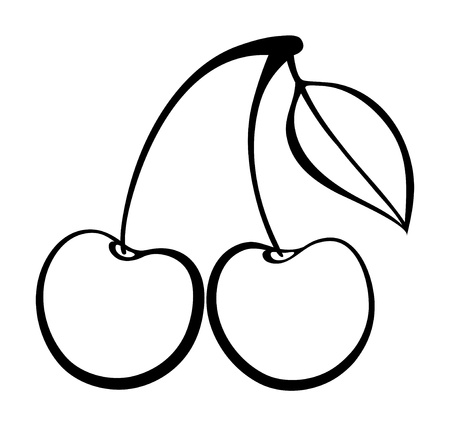 monochrome illustration of cherry .  Many similarities to the author's profile Stock Vector - 22028248