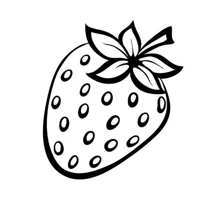 zwart-wit illustratie van aardbeien. Veel overeenkomsten met het profiel van de auteur Stock Illustratie
