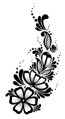 Beautiful floral element  Black-and-white flowers and leaves design element  Floral design element in retro style  Many similarities to the author