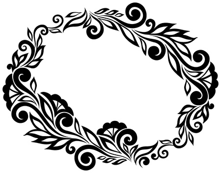 Black and white lace flowers and leaves isolated on white. Floral design element in retro style. Many similarities to the authors profile Vector