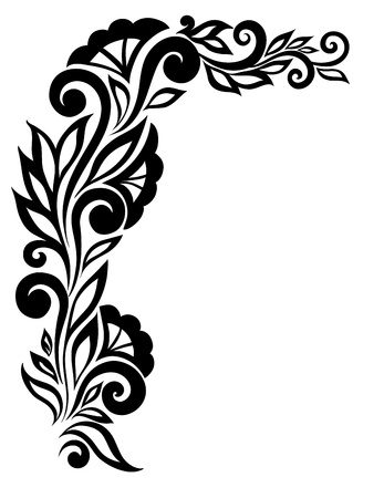 beautiful black-and-white lace flower in the corner. With space for your text and greetings. Many similarities in the profile of the artist Vector