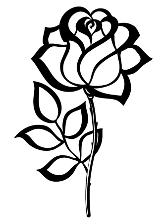 rosebud: black silhouette outline rose, isolated on white  Many similarities in the profile of the artist