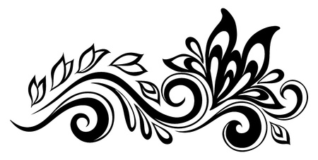 craft ornament: Beautiful floral element. Black-and-white flowers and leaves design element. Floral design element in retro style. Many similarities to the authors profile
