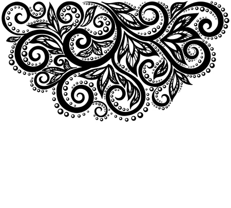 black lace: Black and white lace flowers and leaves isolated on white  Floral design element in retro style  Many similarities to the author Illustration