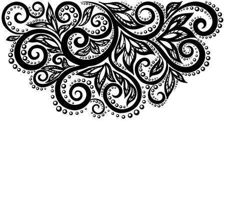 beau noir et blanc monochrome fleur de dentelle dans le coin. avec