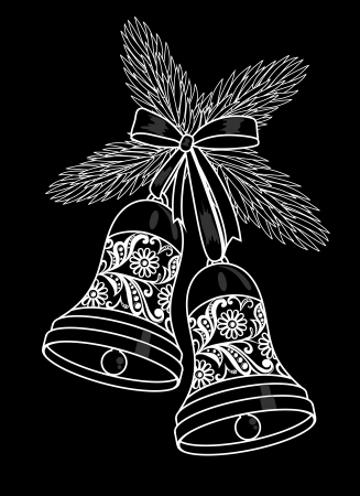 christmas symbol: Black and white silhouette of a bell with a floral design. Hanging on a Christmas tree branch.