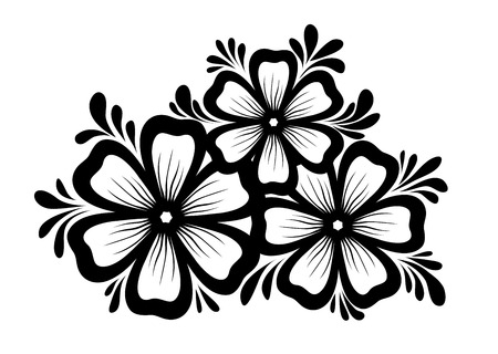 Beautiful floral element black and white flowers and leaves black and white flowers and leaves design element floral mightylinksfo