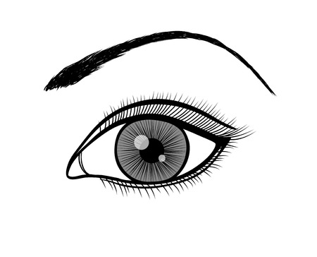 monochrome black and white outline of a female eye.  Illustration