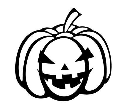 Monochrome black-and-white silhouette of pumpkin festive Halloween Special. Vector