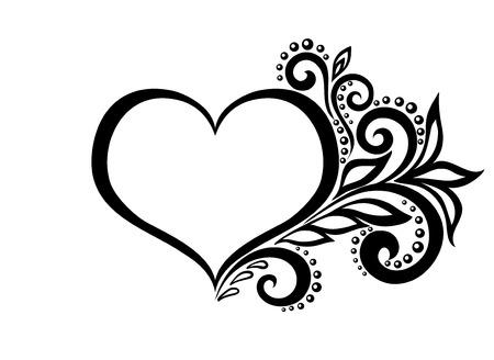 mooi silhouet van het hart van kantwerk bloemen, ranken en bladeren. Geïsoleerd op wit.