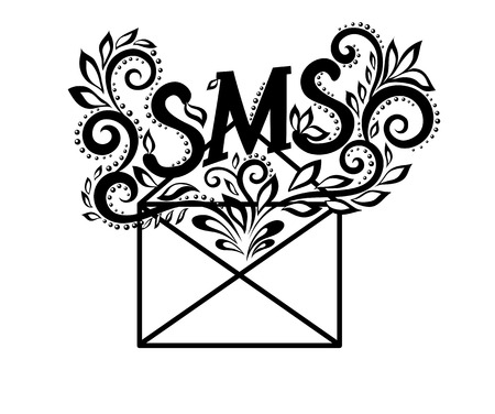 image of black-and-white envelope sms in floral style.  Vector