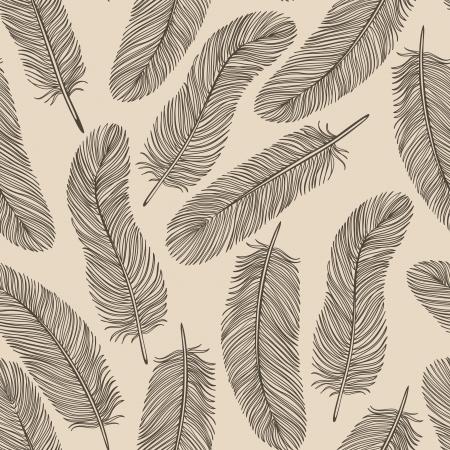 Vintage Feather seamless background. Banco de Imagens - 22956791