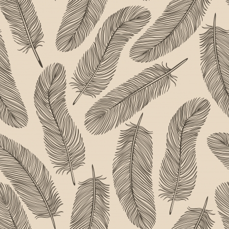 Vintage Feather seamless background. Vector