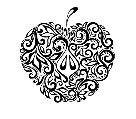 beautiful black and white apple decorated with floral pattern. Illustration