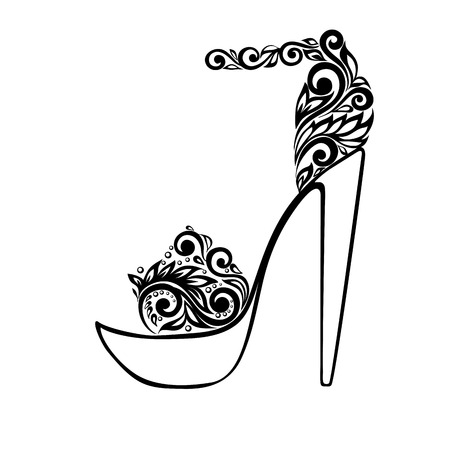 힐: 아름다운 샌들은 검은 색과 흰색 꽃 장식으로 장식.