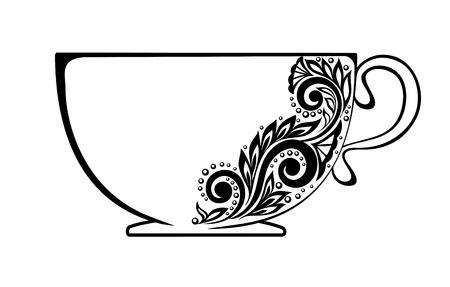 黒と白の花の装飾で飾られた美しいカップ。  イラスト・ベクター素材