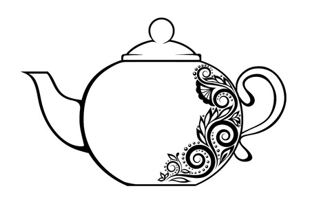 Beautiful teapot, decorated with black and white floral ornament. Vector