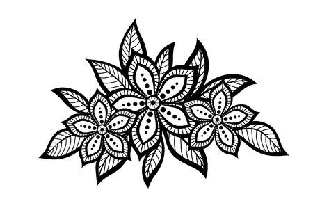 monochroom: mooi bloemmotief, een design element in de oude stijl. Veel overeenkomsten met het profiel van de auteur