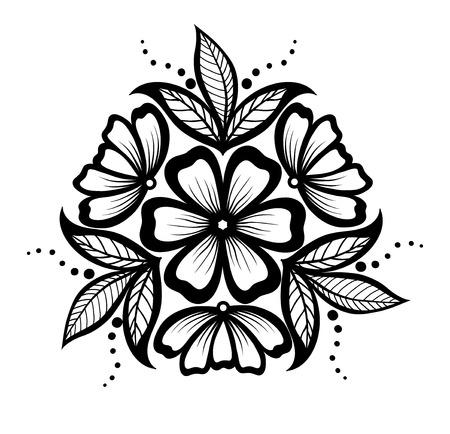Beau motif floral, un élément de design dans le style ancien. De nombreuses similitudes avec le profil de l'auteur Banque d'images - 23072514