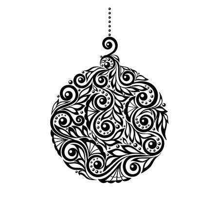 noel: Black and White Christmas ball with a floral design.  Many similarities to the authors profile Illustration