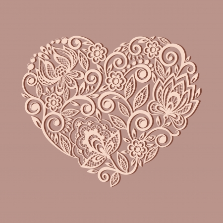 silhouette of the heart symbol decorated with floral pattern, a design element in the old style.  Many similarities to the author's profile Zdjęcie Seryjne - 23060657