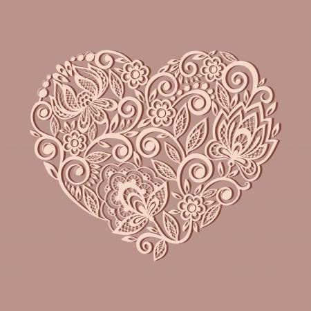 Silueta del símbolo de corazón decorado con estampado de flores, un elemento de diseño en el viejo estilo. Muchas similitudes con el perfil del autor Foto de archivo - 23060657