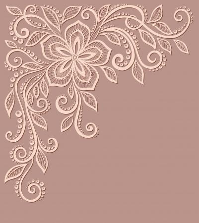 美しい花柄、古いスタイルのデザイン要素。著者のプロフィールへ多くの類似点  イラスト・ベクター素材