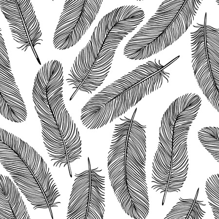 black-and-white Feather seamless   イラスト・ベクター素材