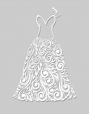 a beautiful white dress with floral elements, on a grey