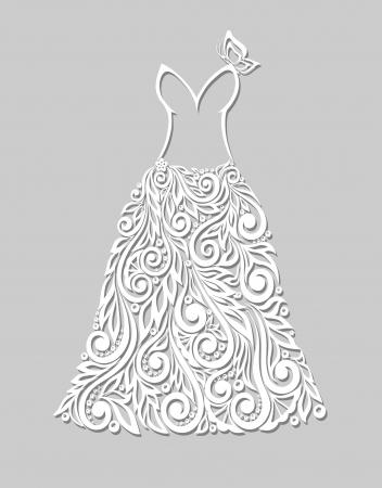 mannequin: une belle robe blanche avec des éléments floraux, sur un gris Illustration